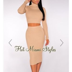 Nude Ribbed Knit Turtleneck Two Piece Set
